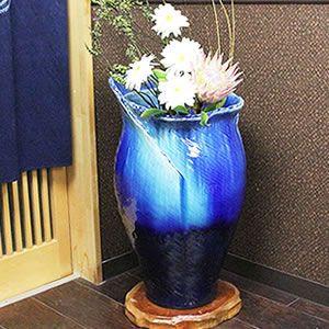 信楽焼きかさたて ブルーガラスひねり傘立て 陶器[kt-0293]