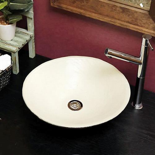 オフホワイト 手洗い鉢【中型サイズ】 信楽焼き手洗器!陶器の手水鉢 楕円型 [tr-3233]