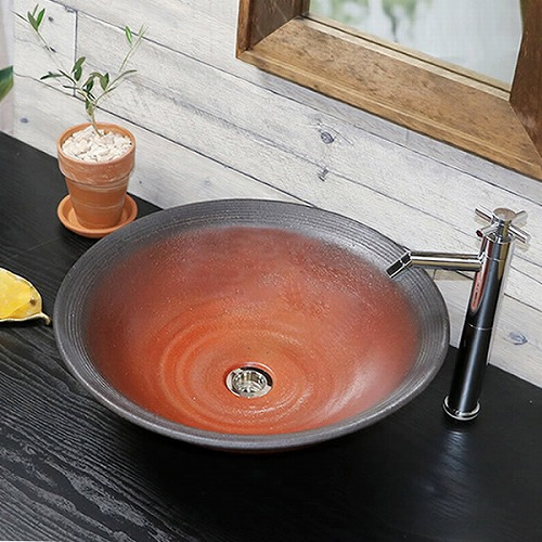 赤鉄手洗い鉢 【大型サイズ】信楽焼き手洗器 陶器の洗面ボウル [tr-4122]