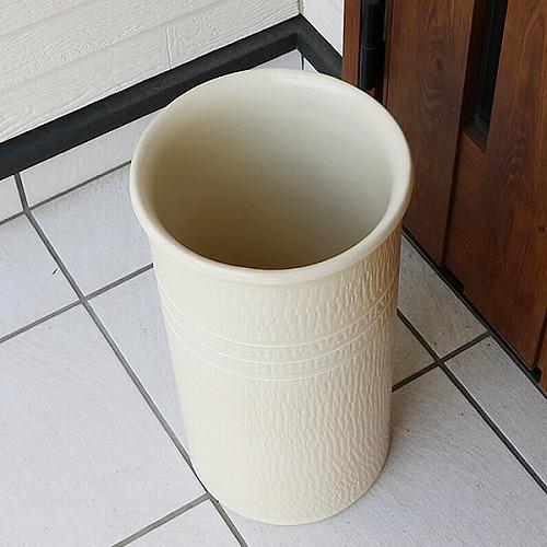 信楽焼きかさたて 白マット傘立て 陶器かさたて [kt-0219]