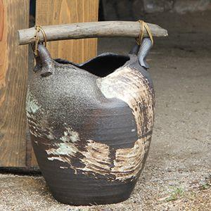 信楽焼きかさたて 流木付きハケメ傘立て 陶器[kt-0184]
