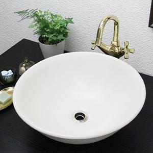 白マット手洗い鉢【中型サイズ】信楽焼き手洗器!陶器の手水鉢[tr-3211]