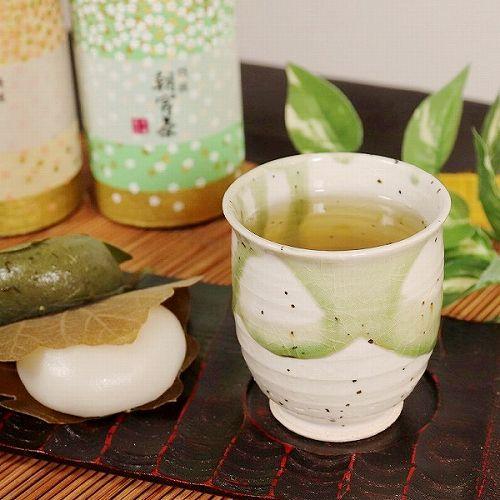 信楽焼 緑光(小)湯呑み w313-02