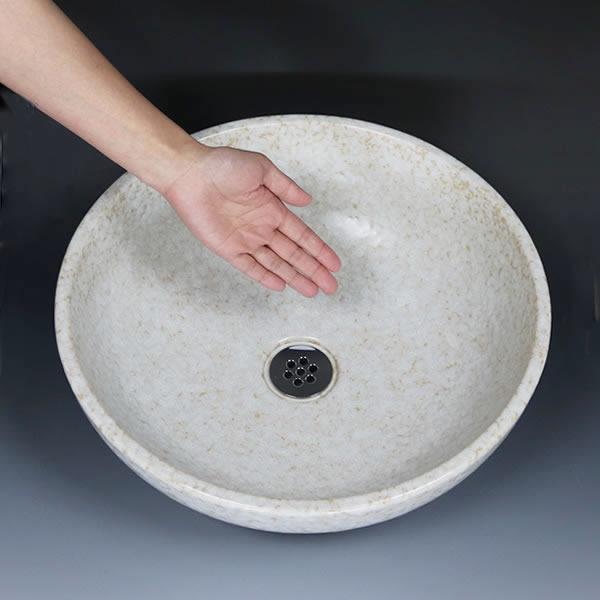 白火色二彩色 手洗い鉢【中型サイズ】 信楽焼き手洗器 陶器の手水鉢 [tr-3247]