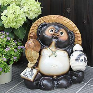 信楽焼きたぬき 10号こづち持ち狸 陶器タヌキ[ta-0166]