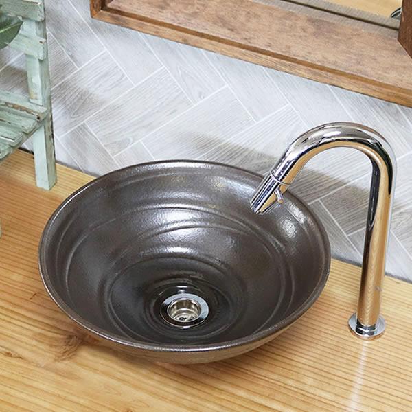 信楽焼き こげ茶 手洗い鉢【小型サイズ】信楽焼き手洗器!陶器の手水鉢 [tr-2270]