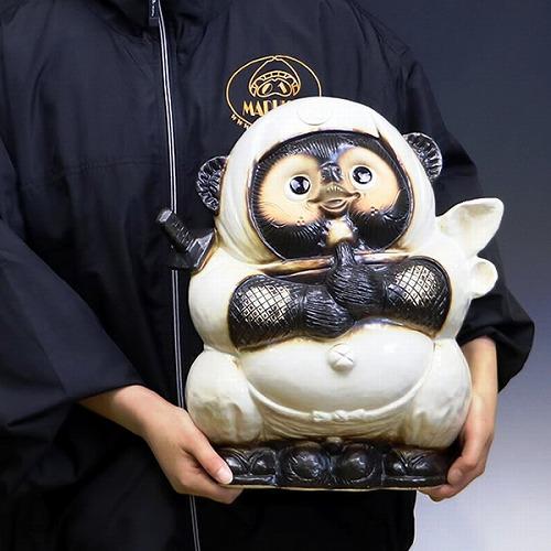 信楽焼きたぬき 白忍者たぬき(大) ニンジャ狸 陶器タヌキ [ta-0307]