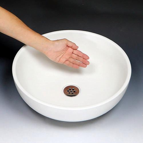 白マットボール型手洗い鉢【中型サイズ】 信楽焼き手洗器 陶器の手水鉢 [tr-3060]
