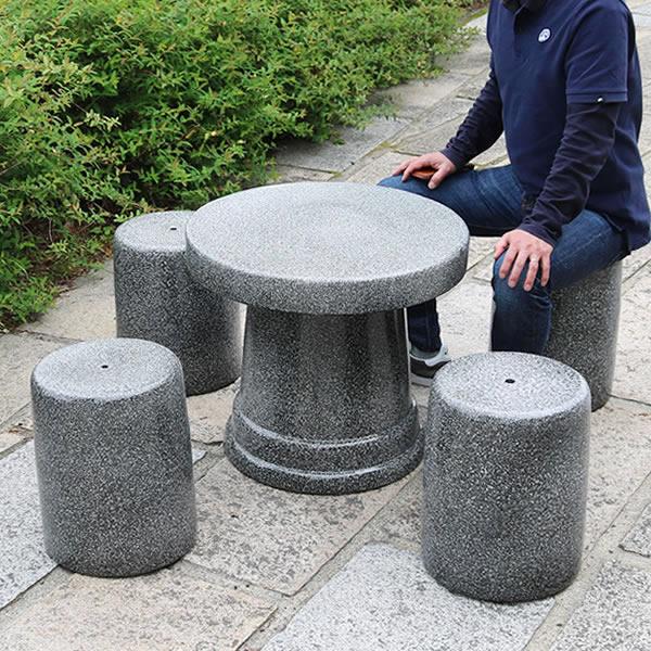 20号白斑点ガーデンテーブルセット 陶器のテーブルセット 信楽焼き【5点セット】 庭用テーブル [te-0049]
