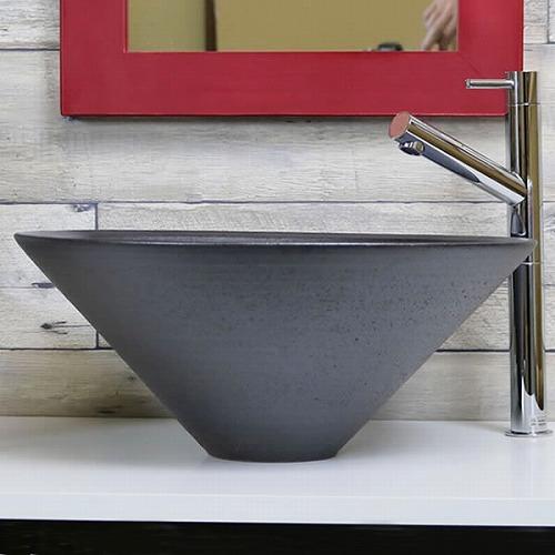 黒窯肌手洗い鉢 【中型サイズ】 信楽焼き手洗器! 陶器の手水鉢 [tr-3235]