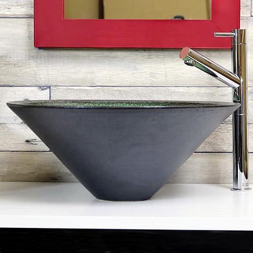 緑ガラス手洗い鉢 【中型サイズ】 信楽焼き手洗器! 陶器の手水鉢 [tr-3236]