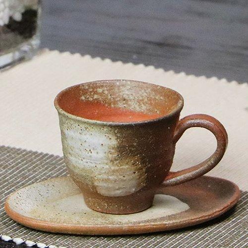 信楽焼 火色刷毛目 コーヒーカップ