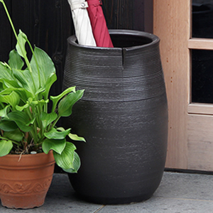 信楽焼きかさたて ブラック傘立て 陶器[kt-0298]