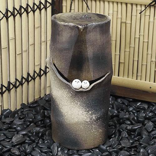 信楽焼き電動つくばい フクロウ湧き水ツクバイ[dt-0034]