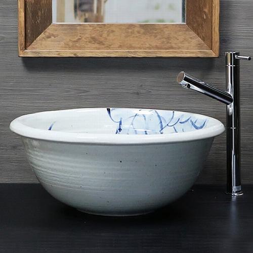 ぶどう絵手洗い鉢 【大型サイズ】信楽焼き手洗器 陶器の洗面ボウル [tr-4014]