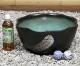 12号緑釉ハケメ花型水鉢 信楽焼 金魚鉢、メダカ鉢にお勧め[su-0157]