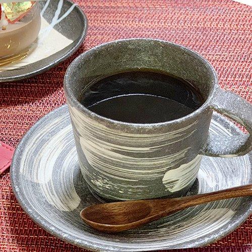 信楽焼 黒刷毛目 コーヒーカップ