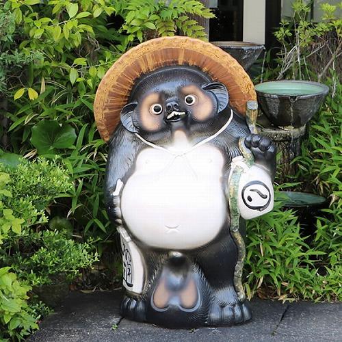 信楽焼きたぬき 35号福ひねり狸 陶器タヌキ 大たぬき[ta-0267]