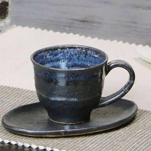 信楽焼 青ビードロ コーヒーカップ
