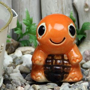 ミニ亀(オレンジ色)  信楽焼かめ置き物[ok-0072]