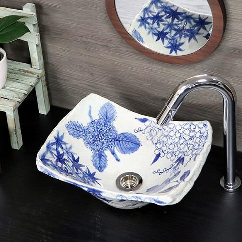 四季絵手洗い鉢【小型サイズ】 信楽焼き手洗器 陶器の手水鉢 角型 長角型 [tr-2257]