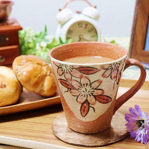 信楽焼 緋色てっせんマグカップ w306-06