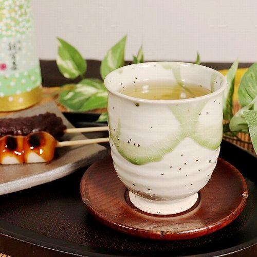 信楽焼 緑光(大・小)湯呑み ペアセット w313-01_02