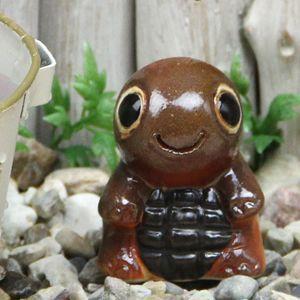 ミニ亀(茶色)  信楽焼かめ置き物[ok-0075]