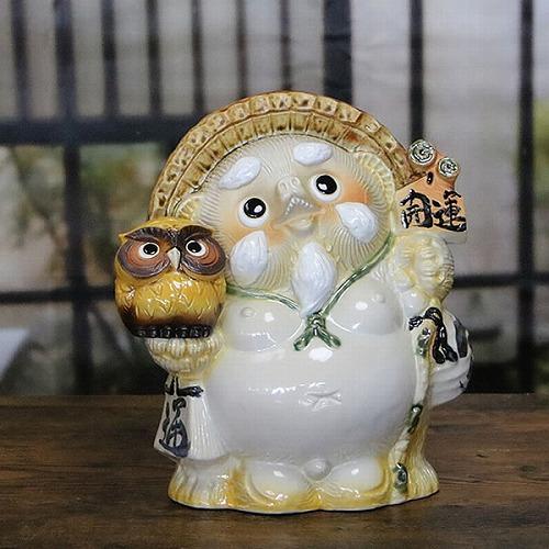 仙人タヌキ 信楽焼きたぬき  黄色ふくろう持ち狸 陶器[ta-0269]