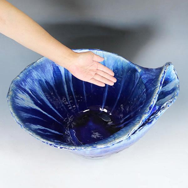 青ビードロ水鉢 信楽焼 金魚鉢、メダカ鉢にお勧め 睡蓮鉢 スイレン鉢 陶器 鉢 [su-0247]