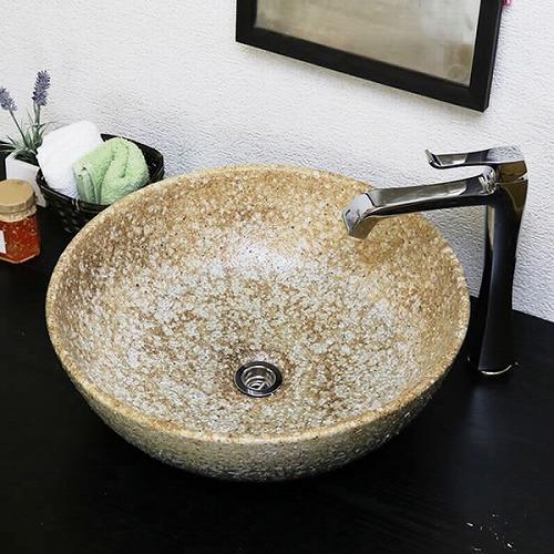 手洗い鉢【大型サイズ】 信楽焼き手洗器 陶器 洗面ボウル 白窯変手洗い器 [tr-4098]