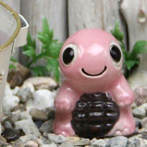 ミニ亀(ピンク色)  信楽焼かめ置き物[ok-0078]