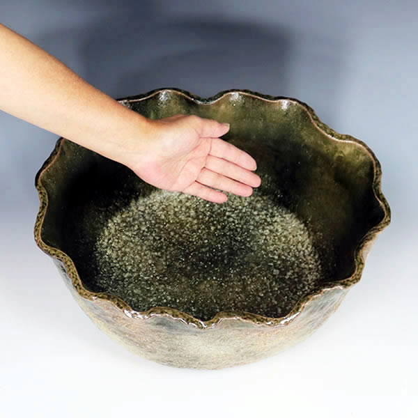 窯肌手ひねり水鉢 信楽焼 金魚鉢、メダカ鉢にお勧め 陶器 手水鉢 鉢 しがらき [su-0248]