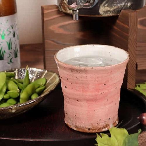 信楽焼 千歳(ピンク) 焼酎カップ