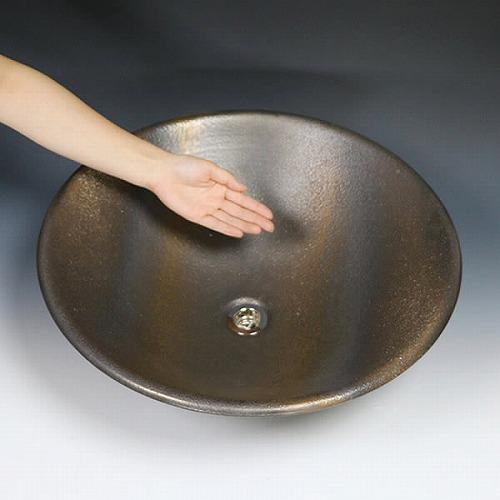 金彩ソリ型手洗い鉢【大型サイズ】 信楽焼き手洗器 陶器の洗面ボウル [tr-4016]