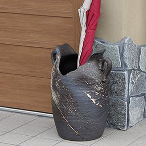 信楽焼きかさたて 白刷毛目窯肌傘立て 陶器[kt-0186]