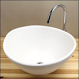 白ほたる変形手洗い鉢【埋め込みタイプ】信楽焼き手洗器!陶器の手水鉢[tm-4037]