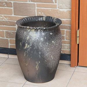信楽焼きかさたて 窯肌つぼ型傘立て 陶器かさたて [kt-0335]