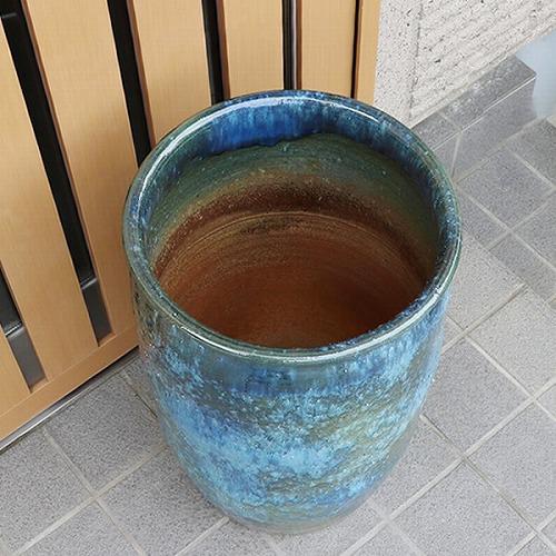 信楽焼きかさたて 青ビードロ傘立て 陶器かさたて [kt-0236]
