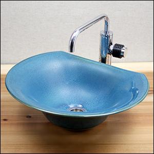 織部半円型手洗い鉢【小型サイズ】信楽焼き手洗器!陶器の手水鉢[tr-2037]