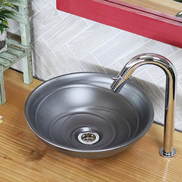 信楽焼き (小型)手洗い鉢【小型サイズ】信楽焼き手洗器!陶器の手水鉢[tr-2181]