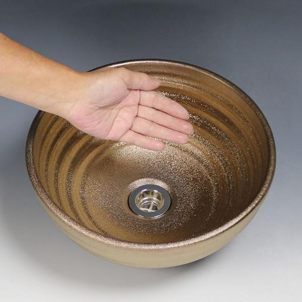 金彩 手洗い鉢【小型サイズ】 信楽焼き手洗器 陶器の手水鉢 陶器 丸型 ゴールド [tr-2273]
