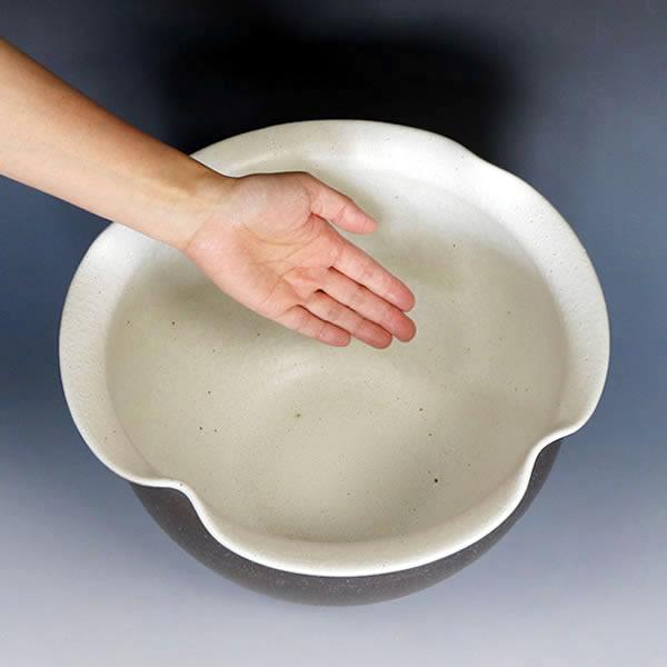 こげ窯変手ひねり水鉢 信楽焼 金魚鉢、メダカ鉢にお勧め 陶器 めだか鉢 スイレン鉢 [su-0269]