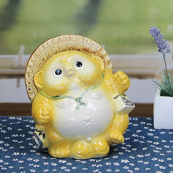信楽焼きたぬき 6号踊り狸(黄) 陶器タヌキ[ta-0185]