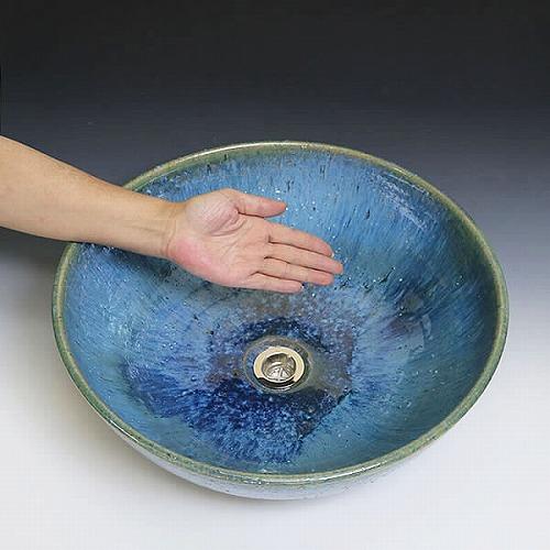 手洗い鉢【大型サイズ】 信楽焼き手洗器 陶器 洗面ボウル 青ビードロ流し手洗い器 [tr-4088]
