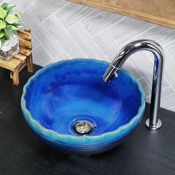藍の色 手洗い鉢【小型サイズ】 信楽焼き手洗器 陶器の手水鉢 陶器 丸型 [tr-2271]