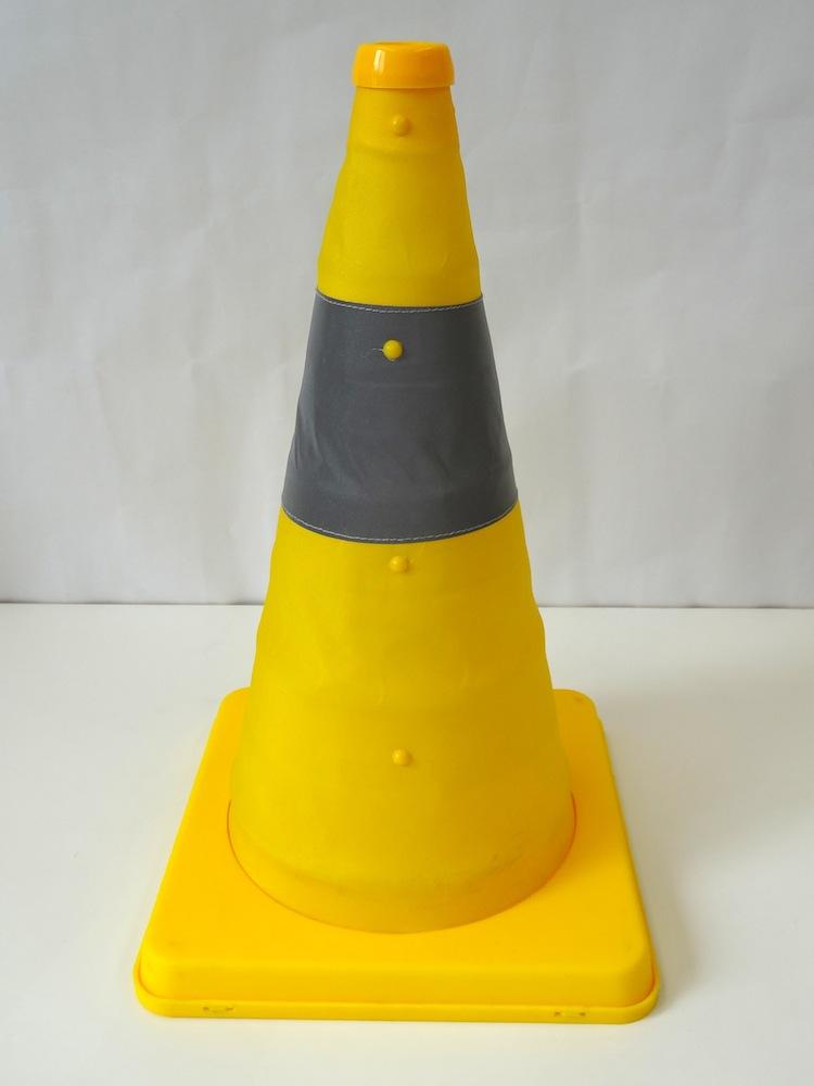 伸縮式三角コーン41cm<イエロー> &ウエイトセット