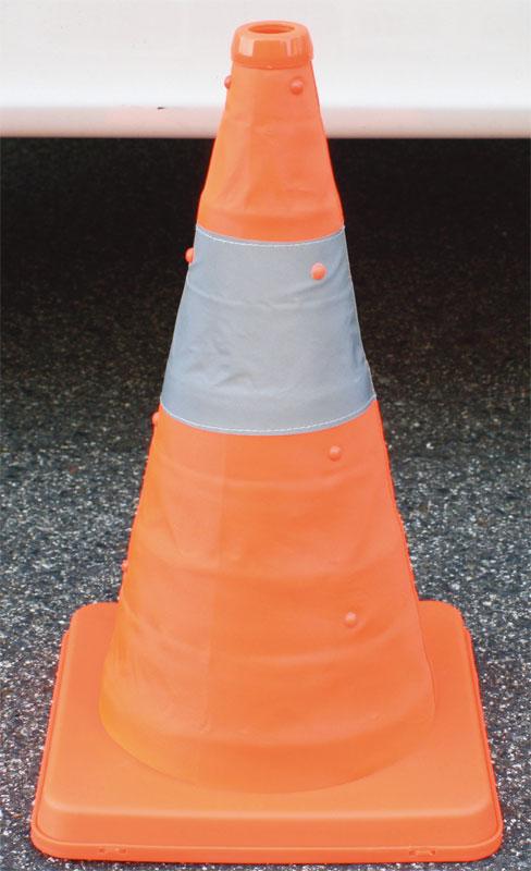 伸縮式三角コーン41cm<オレンジ> &ウエイトセット