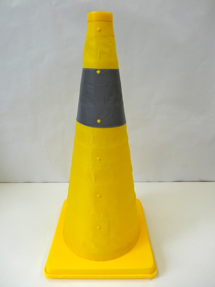 伸縮式三角コーン62cm<イエロー> &ウエイトセット