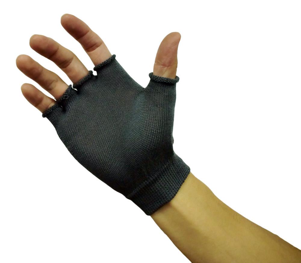 竹糸くん  汗取りインナー手袋指切タイプ <ブラック> お得な3双組手袋